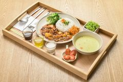 Dishes of international cuisine in a hotel restaurant stock photography