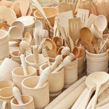 Dishes made of wood Stock Images