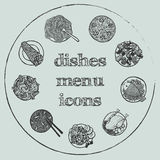 Dishes menu hand-drawn icon set Stock Images