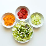 Dishes of mix salads Stock Photo