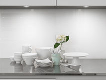 Dishes in the modern kitchen Royalty Free Stock Photos