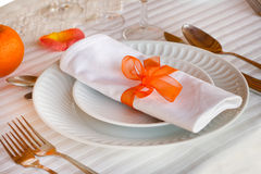 Dishes with napkin Royalty Free Stock Photos