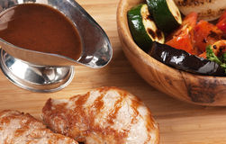 Dishes of roast meat Stock Photography