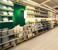Dishes on sale. Shelves with its colorful soup-plates Stock Photo
