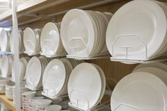 Dishes for sale in the store stock photography
