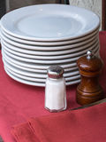 Dishes, salt and pepper Stock Photo