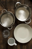 Dishes and saucepans Royalty Free Stock Photography