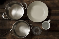 Dishes and saucepans Stock Photo