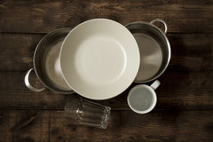 Dishes and saucepans Stock Photos