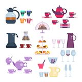 Dishes set vector illustration in flat style. Tea and coffee collection. Tea set. Utensils for serving festive, celebration table. Cups and teapot, glasses and Stock Image