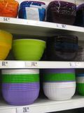 Dishes shelves. Shelves with dishes at store Stock Photo