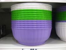 Dishes shelves. Shelves with dishes at store Royalty Free Stock Images