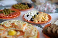 Dishes with snacks on the table Royalty Free Stock Photos