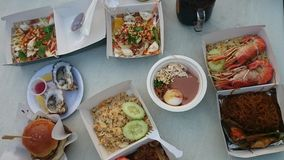 Dishes of street food from top view Stock Photos