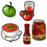 Dishes of tomatoes - juice, soup, canned, ketchup. Set of different dishes of tomatoes - juice, soup, canned, ketchup isolated on white background. Five vector vector illustration