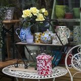 Dishes and a vase of flowers in the window of the hardware store, where you can buy different cozy things for decorating the house Royalty Free Stock Photography