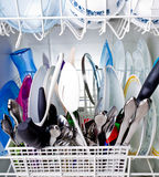 Dishes in a Washing machine Stock Photos