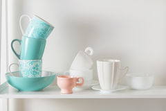 dishes on wooden shelf Royalty Free Stock Photos