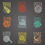 Disheses menu icons - Latino style. Menu icon of dishes, colourful Latino style on blackboard Royalty Free Stock Photos