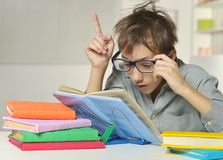 Disheveled boy wearing glasses Royalty Free Stock Photography