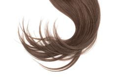 Disheveled brown hair isolated on white background