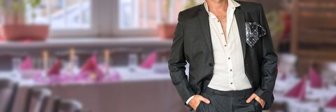 Disheveled businessman in black suit Royalty Free Stock Photos