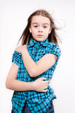 Disheveled crying young girl Stock Images