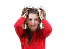 Disheveled frightened girl child Stock Photos