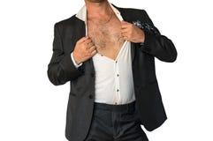 Disheveled mężczyzna w kostiumu z rozpinającą koszula Fotografia Royalty Free