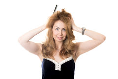 Disheveled young woman Royalty Free Stock Photography