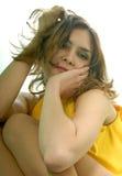 Dishevelled brunette model Stock Photo