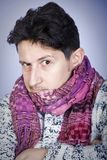 Dishevelled young man with scarf Royalty Free Stock Photo