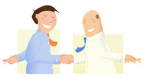 Dishonest businessmen. Two businessmen, shaking hands with their fingers crossed vector illustration