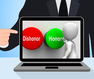 Dishonor Honor Buttons Displays Integrity And Morals Royalty Free Stock Photo