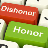 Dishonor Honor Keys Shows Integrity And Morals. Dishonor Honor Keys Showing Integrity And Morals Royalty Free Stock Image