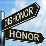 Dishonor Honor Signpost Shows Disgraced Stock Images