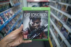 Dishonored: Död av icke-favoritvideogamen på Microsoft XBOX en konsol Royaltyfri Foto