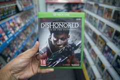 Dishonored: Death of the outsiders videogame on Microsoft XBOX One console Royalty Free Stock Photo