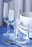 Dishware on the blue tablecloth Stock Photo
