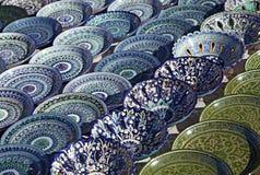 Dishware cerâmico, Usbequistão imagens de stock