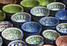 Dishware cerâmico, Usbequistão foto de stock royalty free