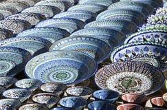 Dishware cerâmico, Usbequistão fotografia de stock