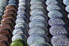 Dishware cerâmico, Usbequistão fotos de stock