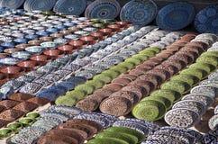 Dishware cerâmico, Usbequistão imagem de stock