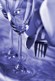 Dishware - closeup. Polished dishware in blue shade - closeup royalty free stock photography