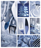 Dishware collage. Polished dishware collage in blue color royalty free stock images