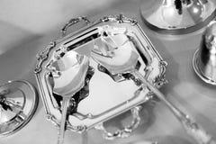 Dishware de plata Fotos de archivo libres de regalías