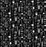 Dishware Doodles White on Black Sketchy Seamless Pattern Background Stock Image