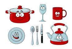 Dishware dos desenhos animados e grupo do kitchenware Fotografia de Stock Royalty Free