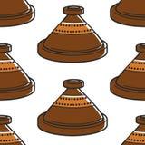 Dishware hecho a mano de la cerámica inconsútil marroquí de la cerámica del pote de arcilla libre illustration